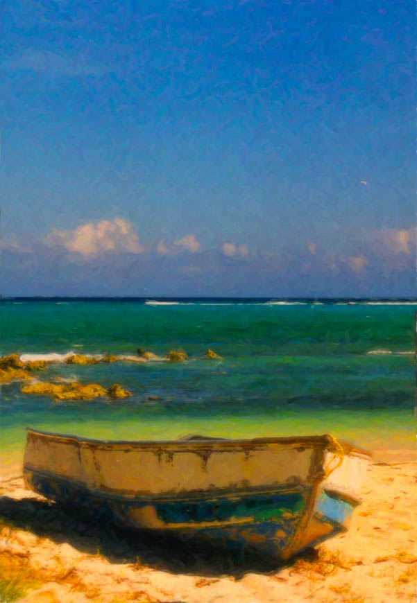 Terri-Aigner_Seascape-Old-Fishing-Boat-in-Carribbean-oil-50-of-1