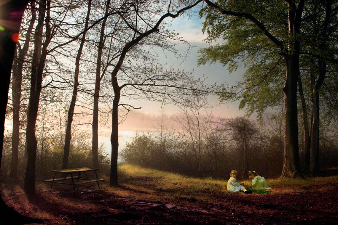 Two young girls playing in Mist Wood