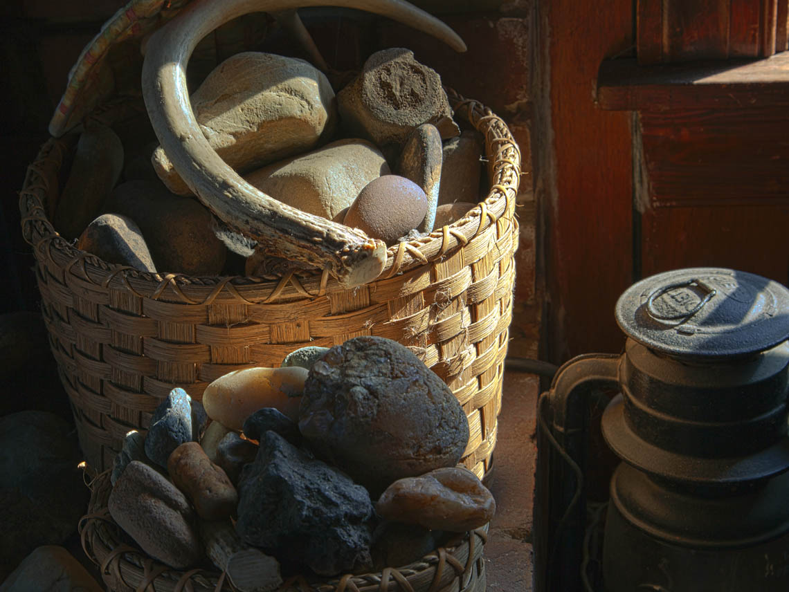 Terri-Aigner_Still-Life-Stones-and-Bones-in-Basket-50-of-1