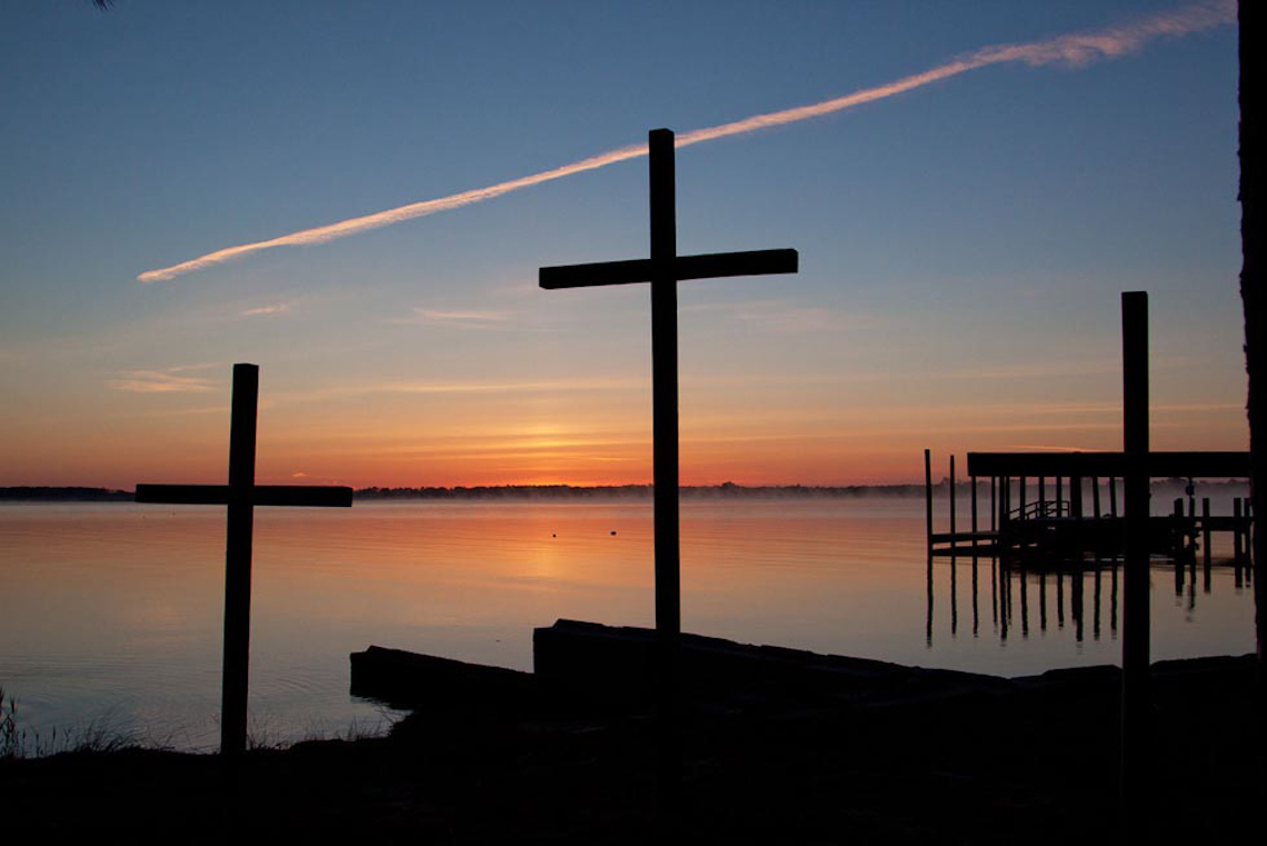 Three-crosses-at-Tall-Pines-Harbor-Campground-dawn-by-Terri-aigner